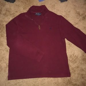MAROON POLO HALF ZIP SWEATER